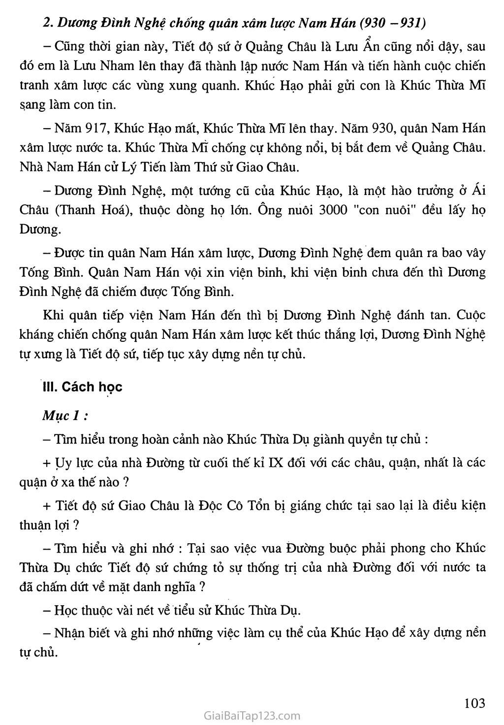 Bài 26: Cuộc đấu tranh giành quyền tự chủ của họ Khúc, họ Dương trang 2