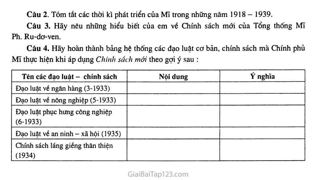 Bài 13: Nước Mĩ giữa hai cuộc chiến tranh thế giới (1918 - 1939) trang 6