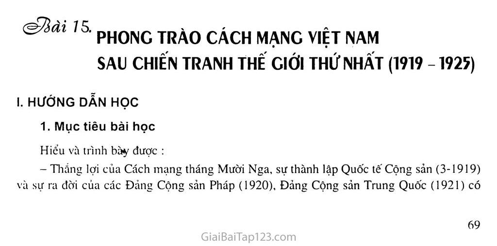 Bài 15: Phong trào cách mạng Việt Nam sau Chiến tranh thế giới thứ nhất (1919 - 1925) trang 1