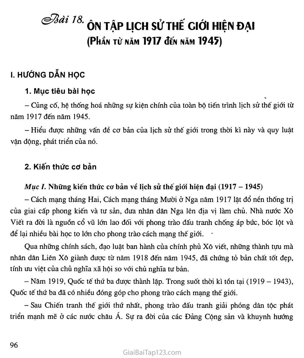 Bài 18: Ôn tập lịch sử thế giới hiện đại (phần từ năm 1917 đến năm 1945) trang 1