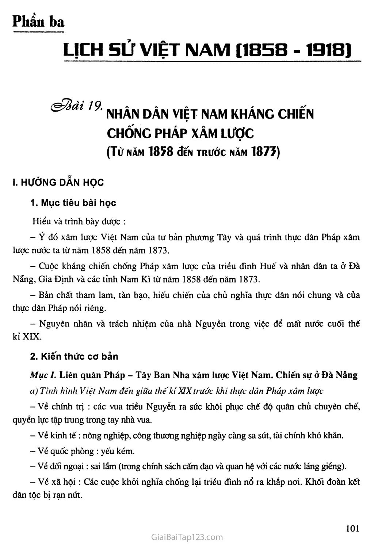 Bài 19: Nhân dân Việt Nam kháng chiến chống thực dân Pháp xâm lược (từ năm 1858 đến trước năm 1873) trang 1