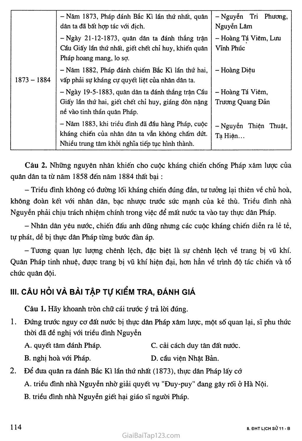 Bài 20: Chiến sự lan rộng ra cả nước. Cuộc kháng chiến của nhân dân ta từ năm 1873 đến năm 1884. Nhà Nguyễn đầu hàng trang 7