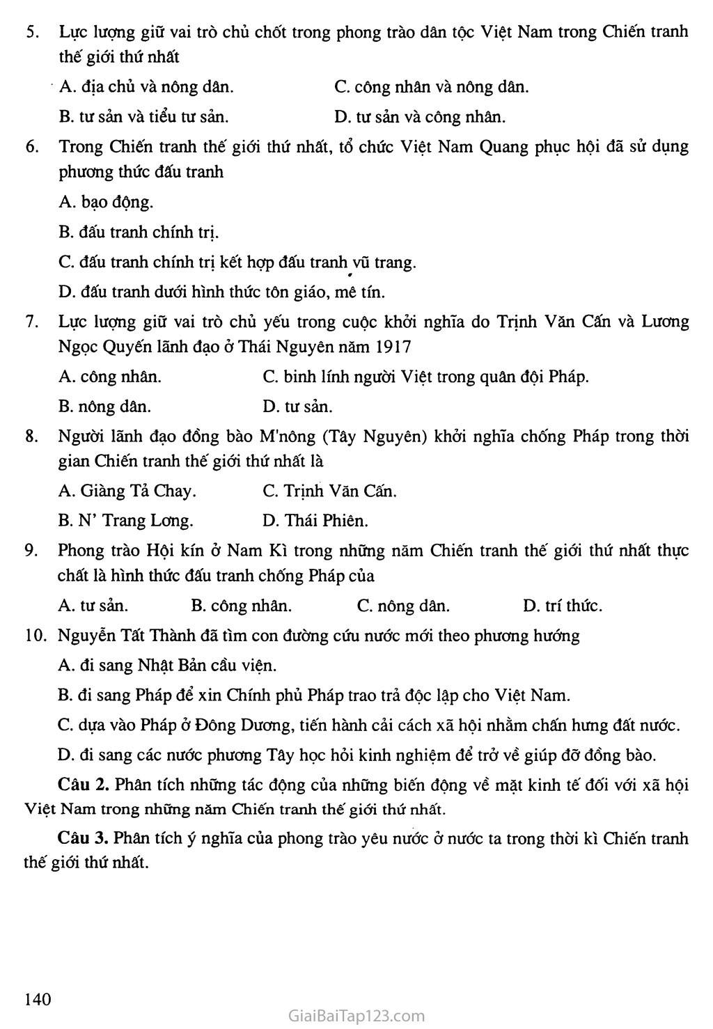 Bài 24: Việt Nam trong những năm chiến tranh thế giới thứ nhất (1914 - 1918) trang 8