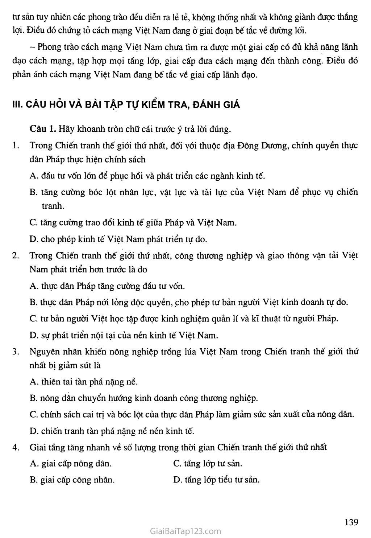 Bài 24: Việt Nam trong những năm chiến tranh thế giới thứ nhất (1914 - 1918) trang 7
