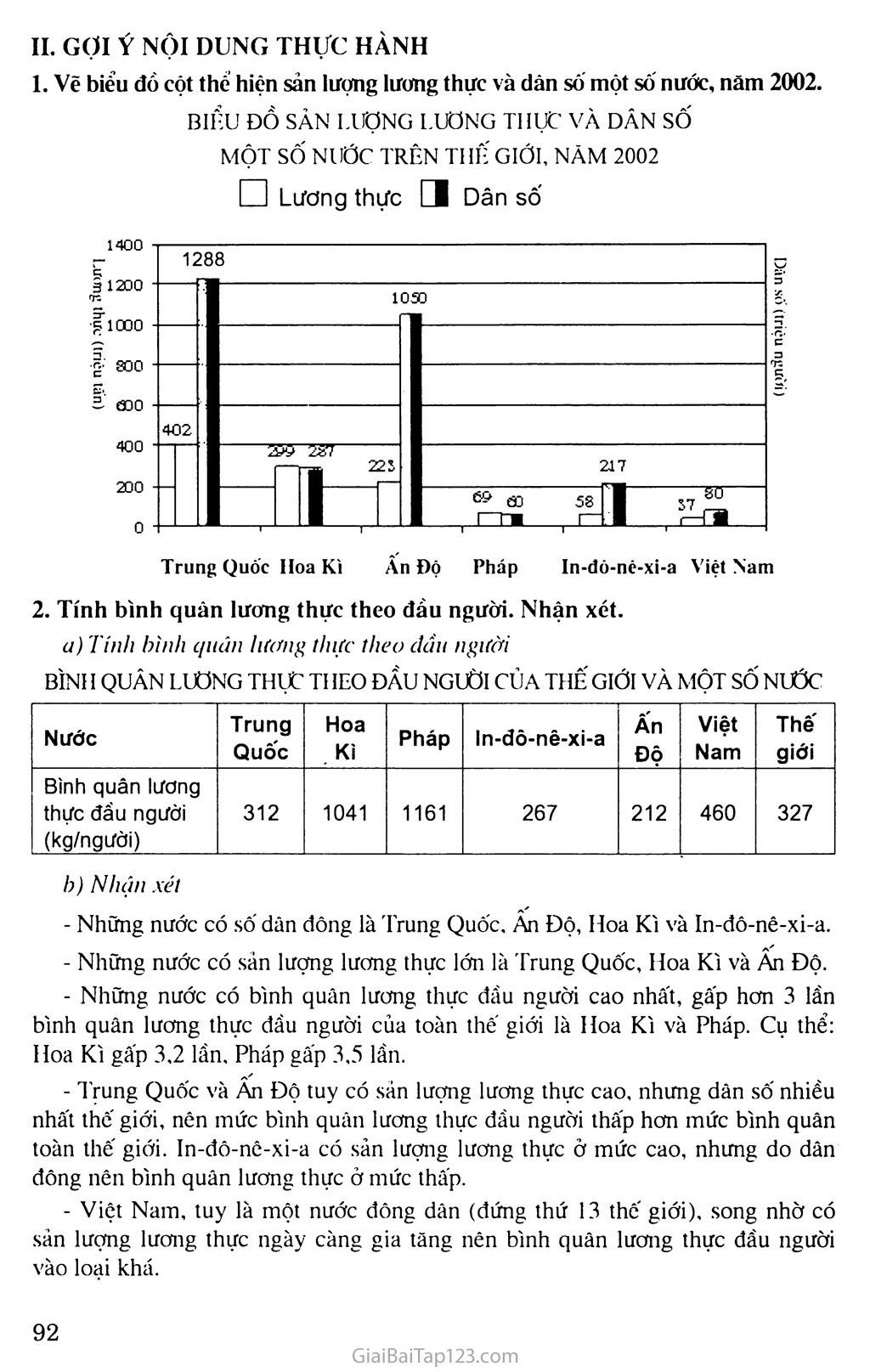 Bài 30: Thực hành: Vẽ và phân tích biểu đồ về sản lượng lương thực, dân số của thế giới và một số quốc gia trang 2