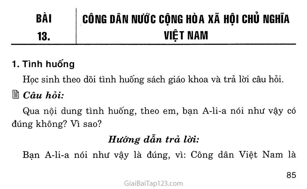 Bài 13: Công dân nước Cộng hòa xã hội chủ nghĩa Việt Nam trang 1