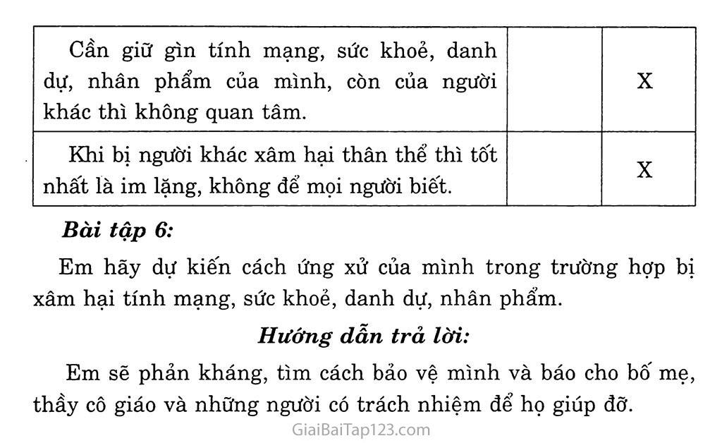 Bài 16: Quyền được pháp luật bảo hộ về tính mạng, thân thể, sức khỏe, danh dự và nhân phẩm trang 7