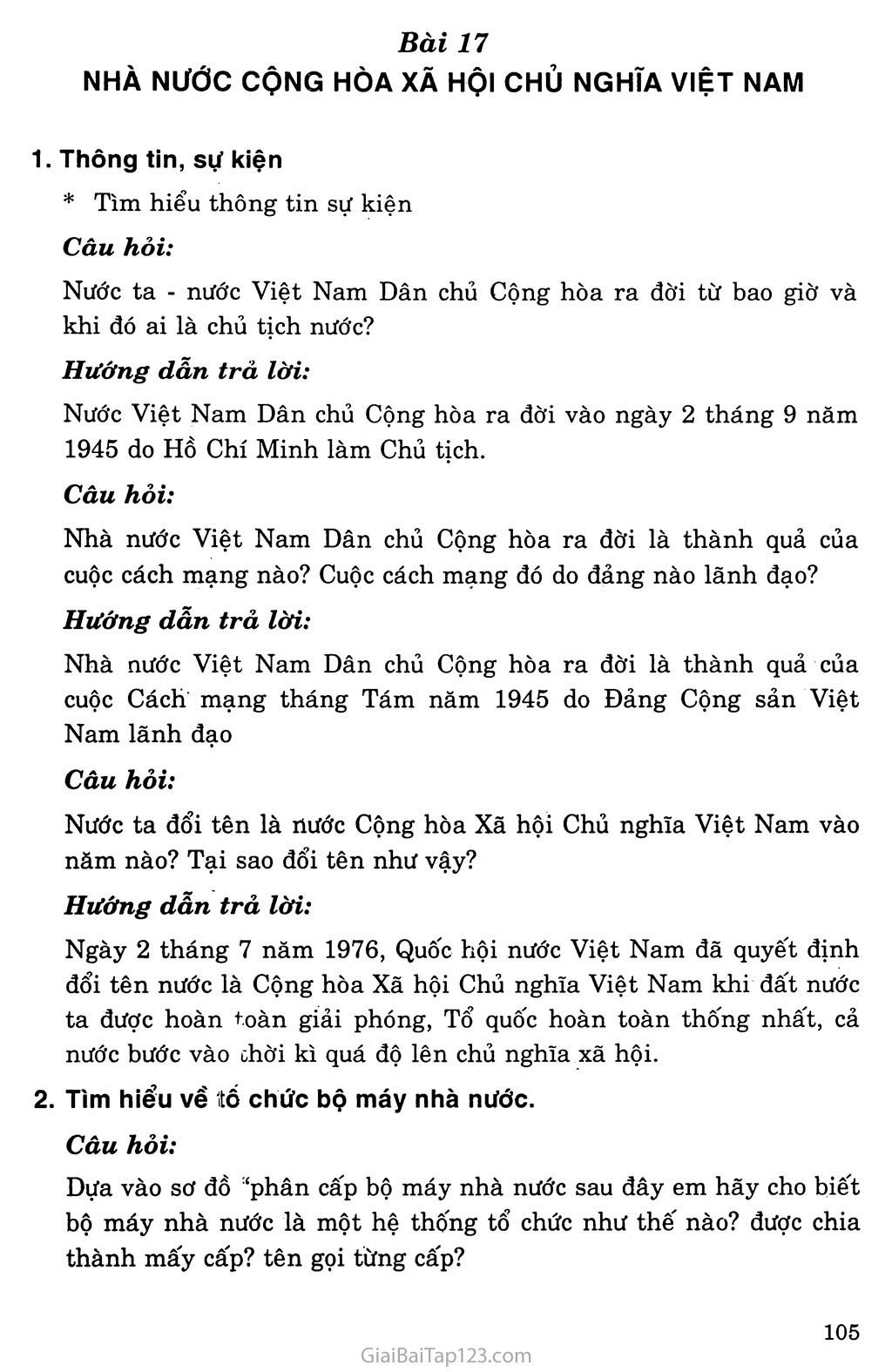Bài 17: Nhà nước Cộng hòa xã hội chủ nghĩa Việt Nam trang 1