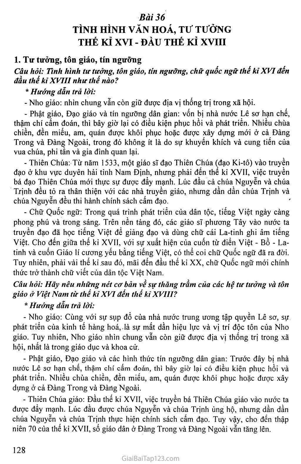 Bài 36: Tình hình văn hóa, tư tưởng thế kỉ XVI - đầu thế kỉ XVIII trang 1