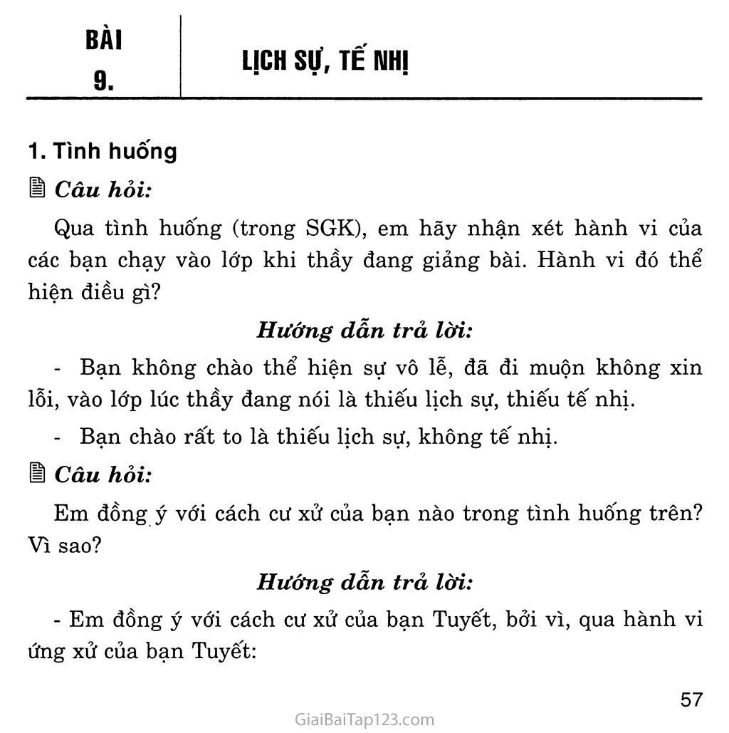 Bài 9: Lịch sự, tế nhị trang 1