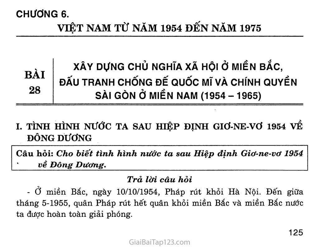 Bài 28: Xây dựng chủ nghĩa xã hội ở miền Bắc, đấu tranh chống đế quốc Mĩ và chính quyền Sài Gòn ở miền Nam (1954 - 1965) trang 1