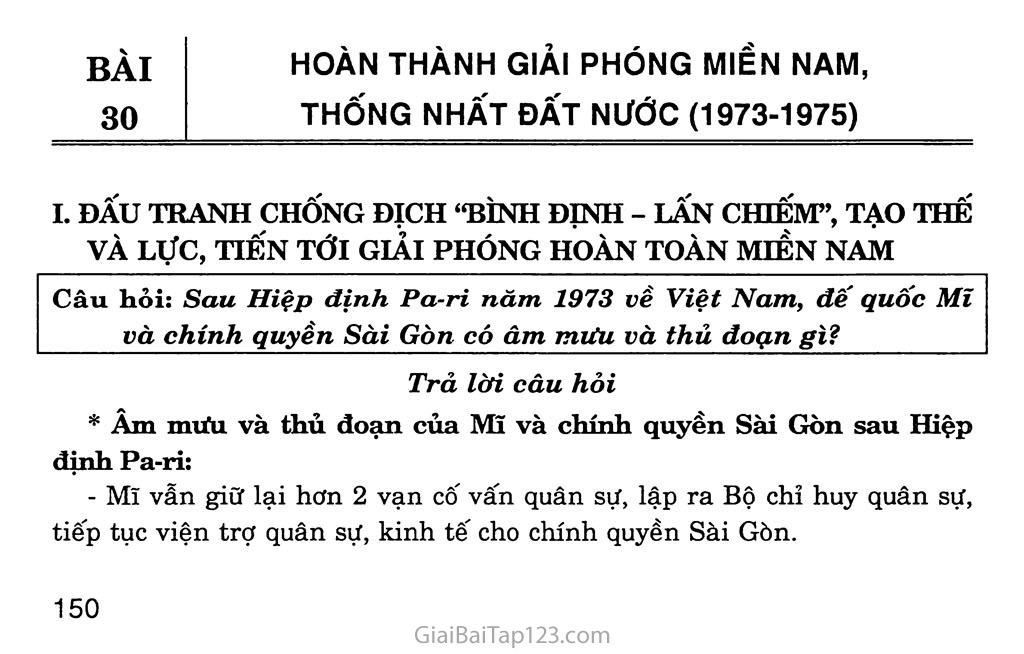 Bài 30: Hoàn thành giải phóng miền Nam, thống nhất đất nước (1973 - 1975) trang 1