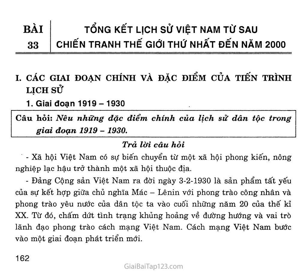 Bài 34: Tổng kết lịch sử Việt Nam từ sau Chiến tranh thế giới thứ nhất đến năm 2000 trang 1