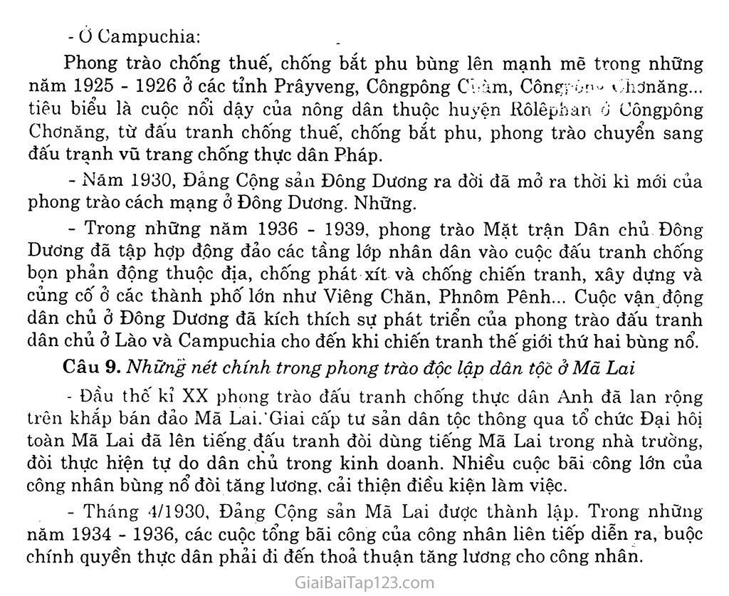 Bài 16: Các nước Đông Nam Á giữa hai cuộc chiến tranh thế giới (1918 - 1939) trang 8
