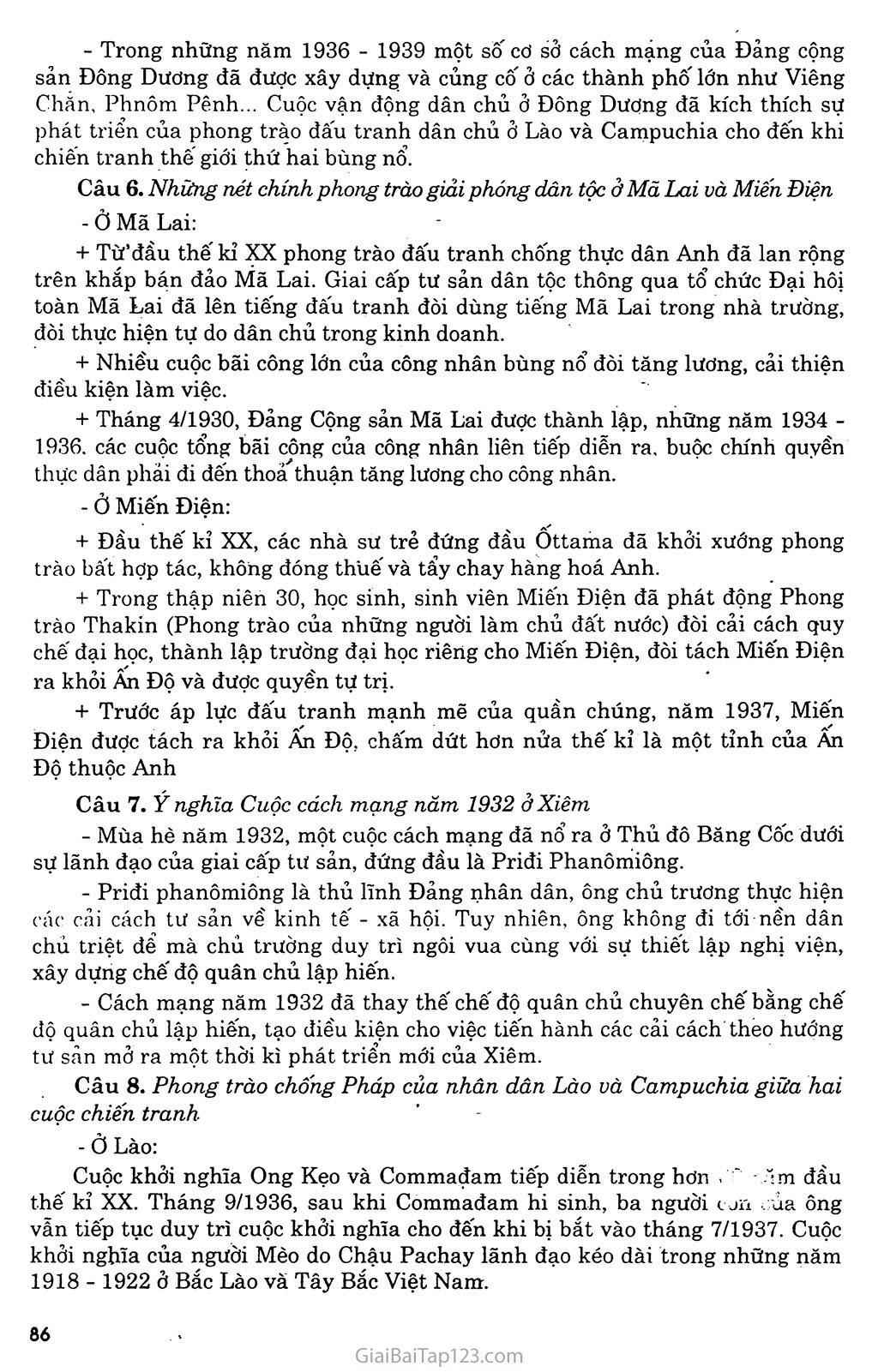 Bài 16: Các nước Đông Nam Á giữa hai cuộc chiến tranh thế giới (1918 - 1939) trang 7