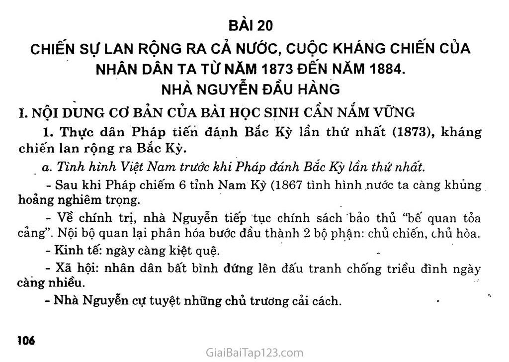 Bài 20: Chiến sự lan rộng ra cả nước: Cuộc kháng chiến của nhân dân ta từ năm 1873 đến năm 1884: Nhà Nguyễn đầu hàng trang 1
