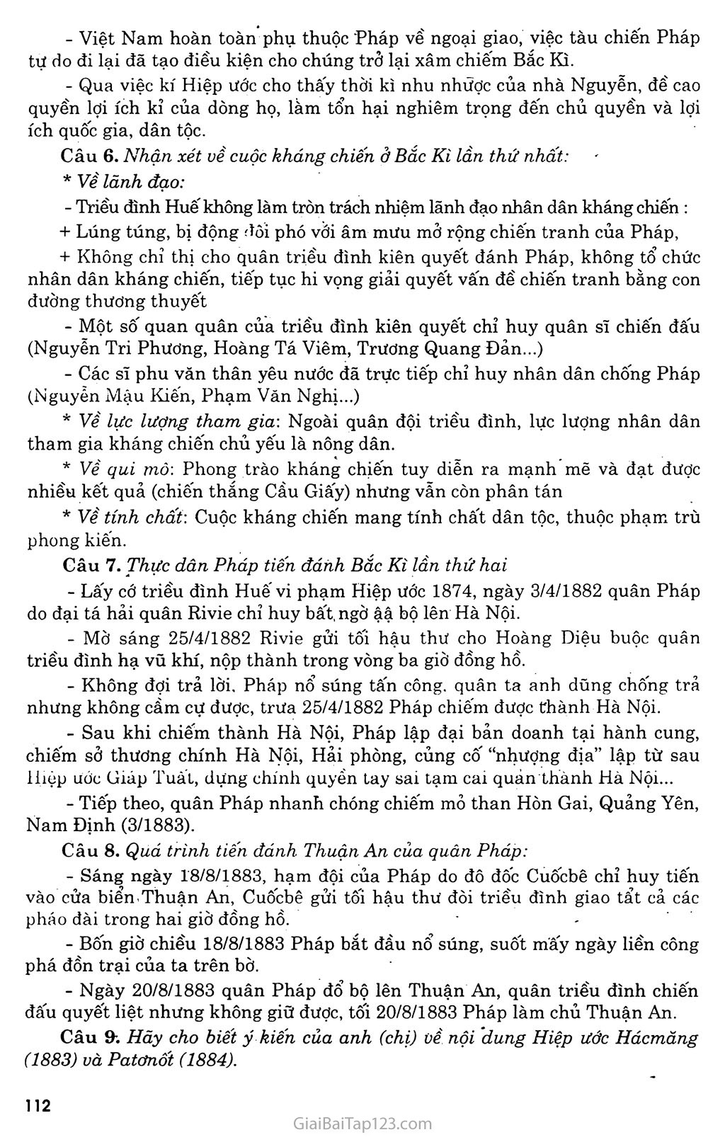 Bài 20: Chiến sự lan rộng ra cả nước: Cuộc kháng chiến của nhân dân ta từ năm 1873 đến năm 1884: Nhà Nguyễn đầu hàng trang 7