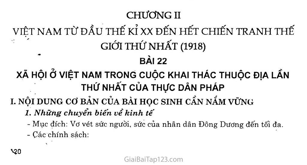 Bài 22: Xã hội Việt Nam trong cuộc khai thác lần thứ nhất của thực dân Pháp trang 1