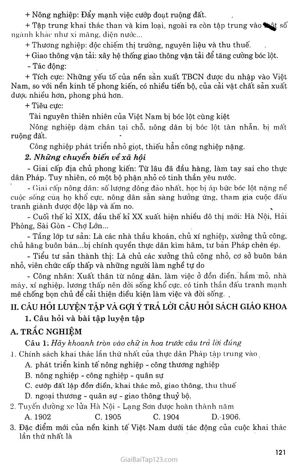 Bài 22: Xã hội Việt Nam trong cuộc khai thác lần thứ nhất của thực dân Pháp trang 2
