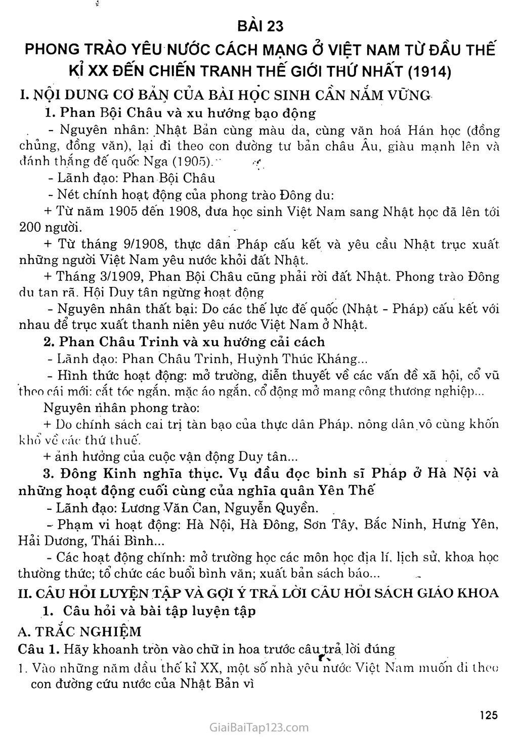 Bài 23: Phong trào yêu nước và cách mạng ở Việt Nam từ đầu thế kỷ XX đến chiến tranh thế giới thứ nhất (1914) trang 1