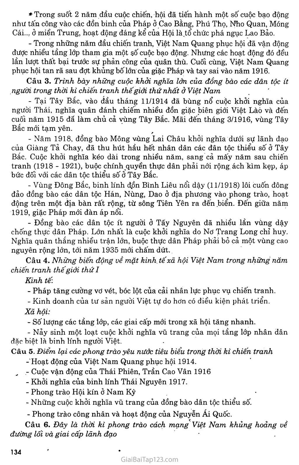 Bài 24: Việt Nam trong những năm chiến tranh thế giới thứ nhất (1914 - 1918) trang 6