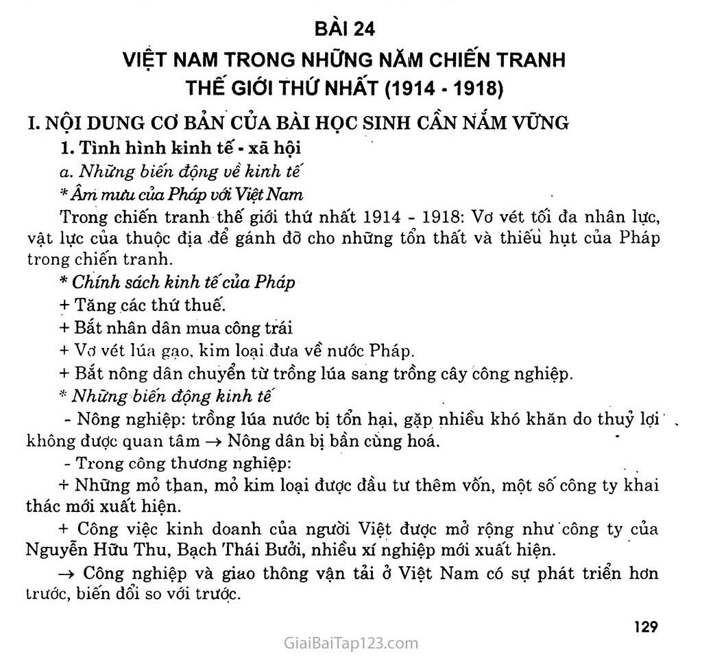 Bài 24: Việt Nam trong những năm chiến tranh thế giới thứ nhất (1914 - 1918) trang 1