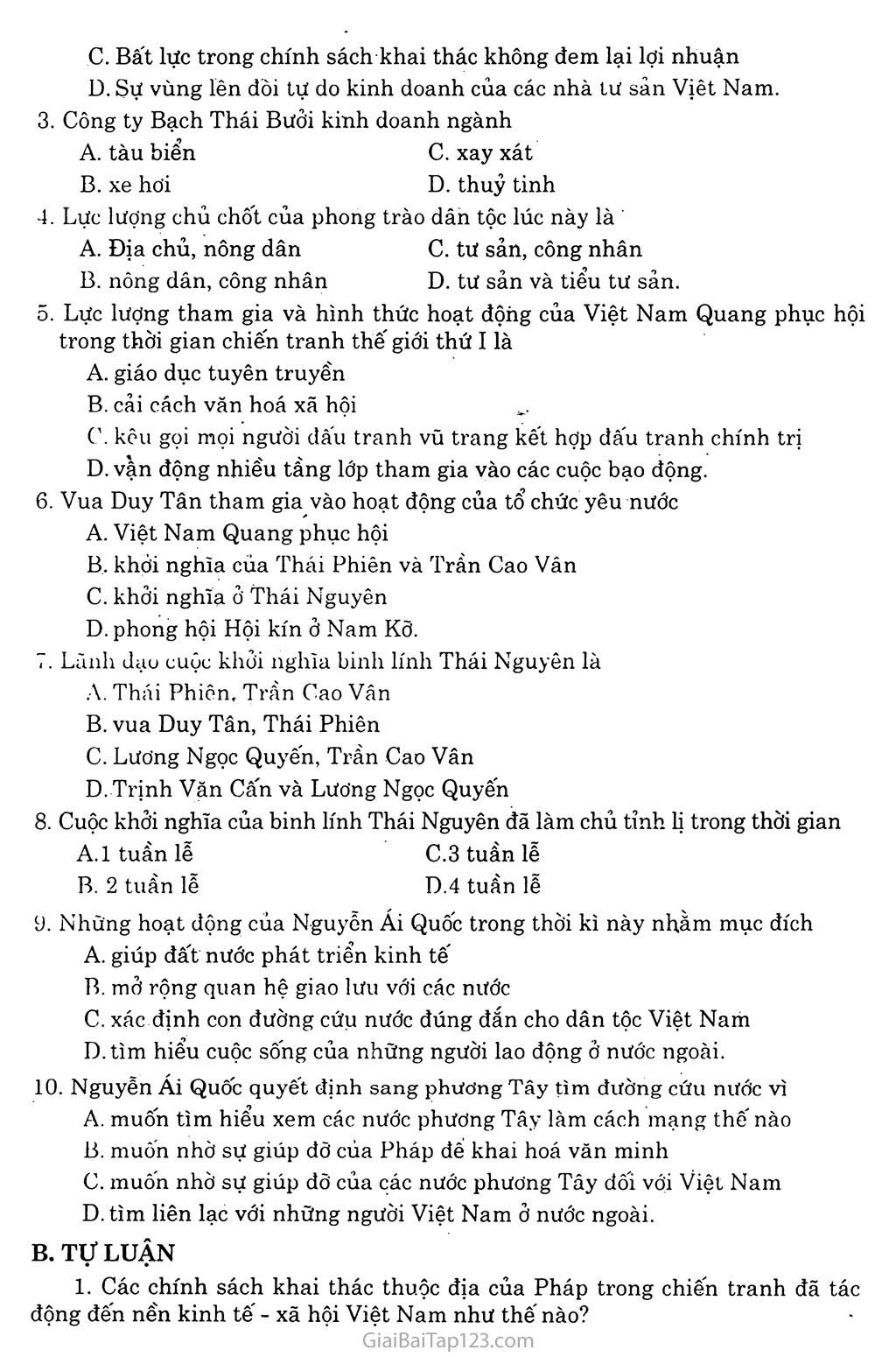 Bài 24: Việt Nam trong những năm chiến tranh thế giới thứ nhất (1914 - 1918) trang 4