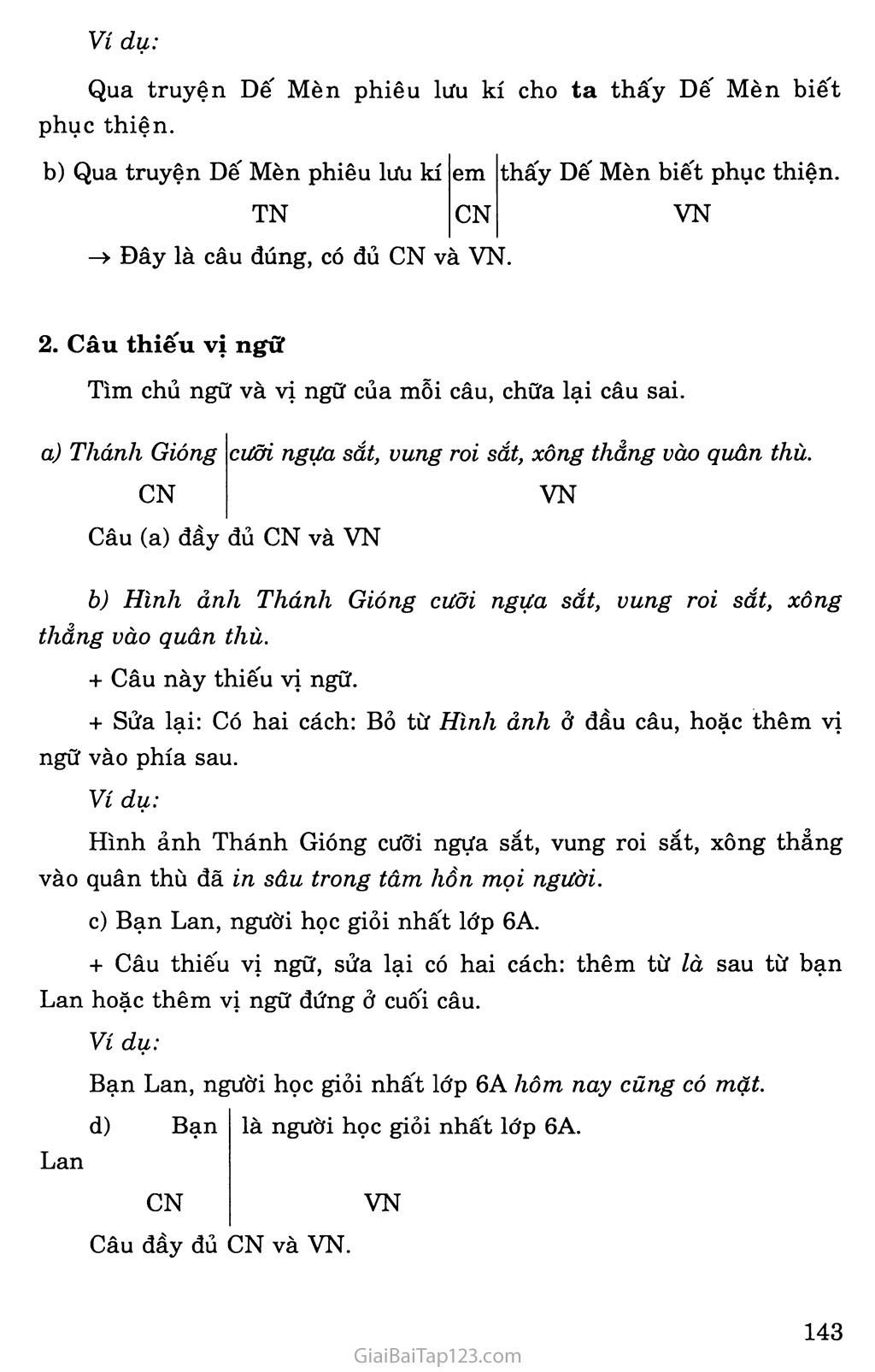 Chữa lỗi về chủ ngữ và vị ngữ trang 2