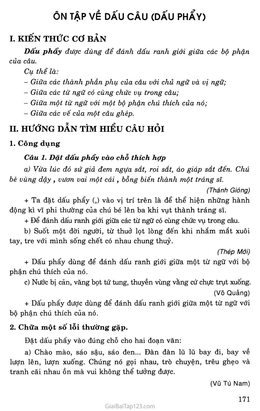 Ôn tập về dấu câu (Dấu phẩy) trang 1