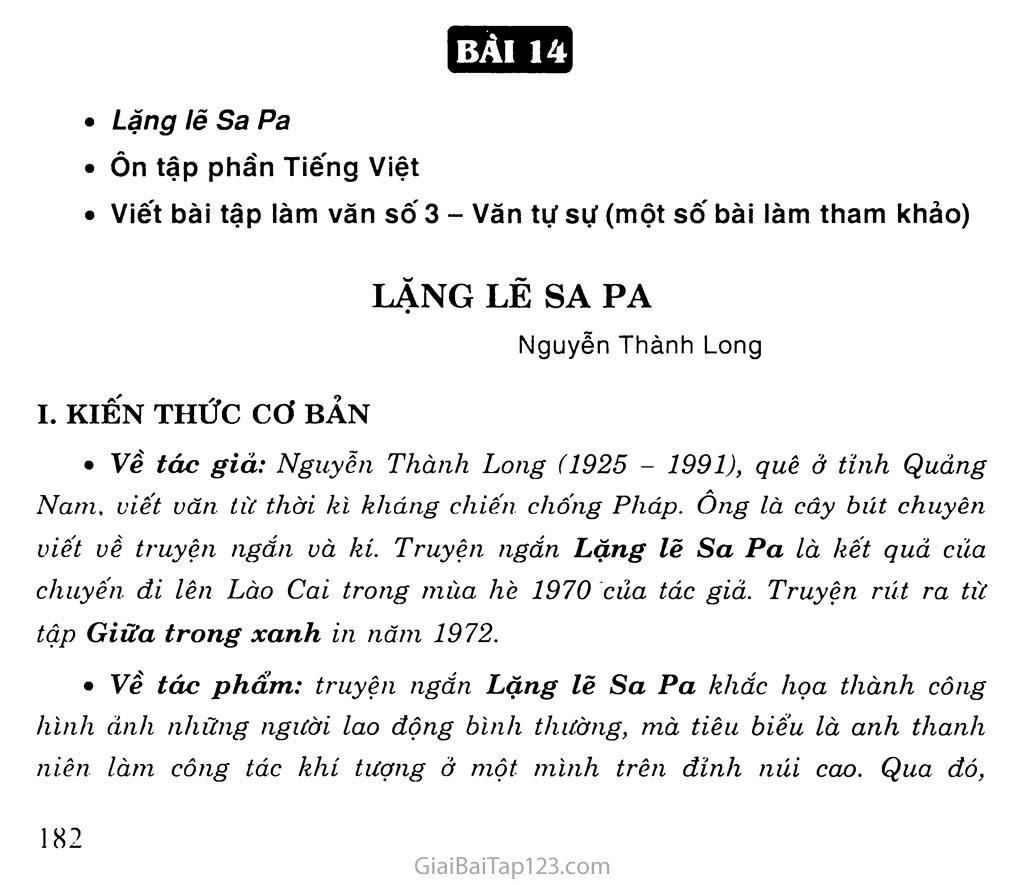Lặng lẽ Sa Pa (trích) trang 1