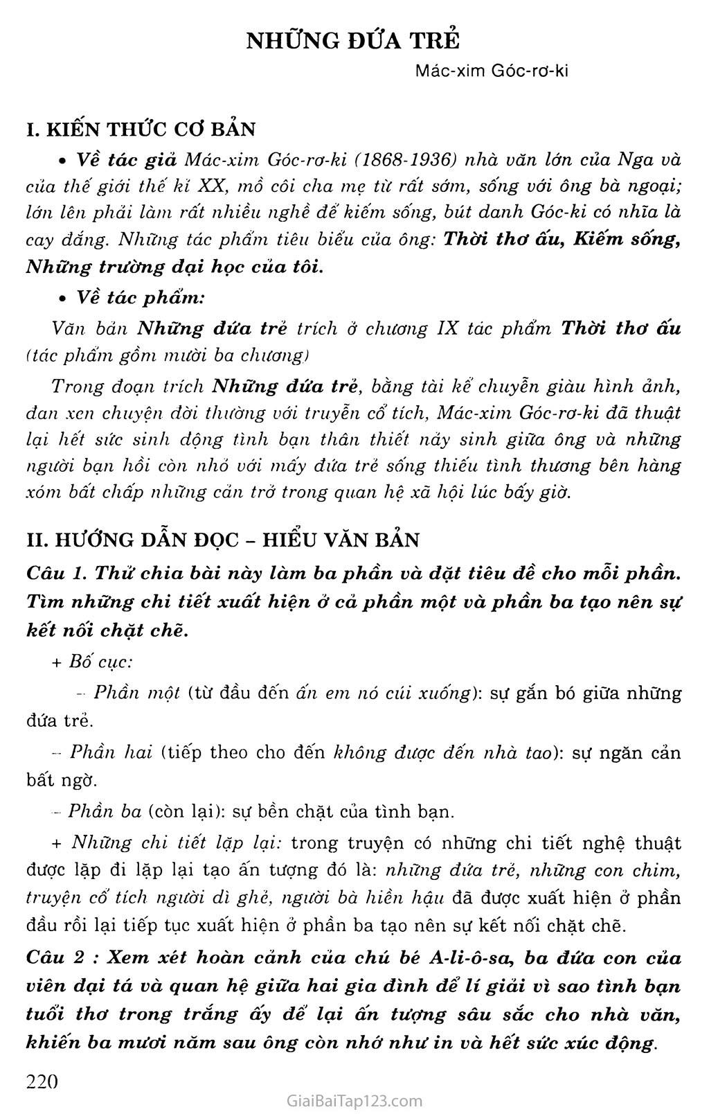 Những đứa trẻ (trích Thời thơ ấu) trang 1