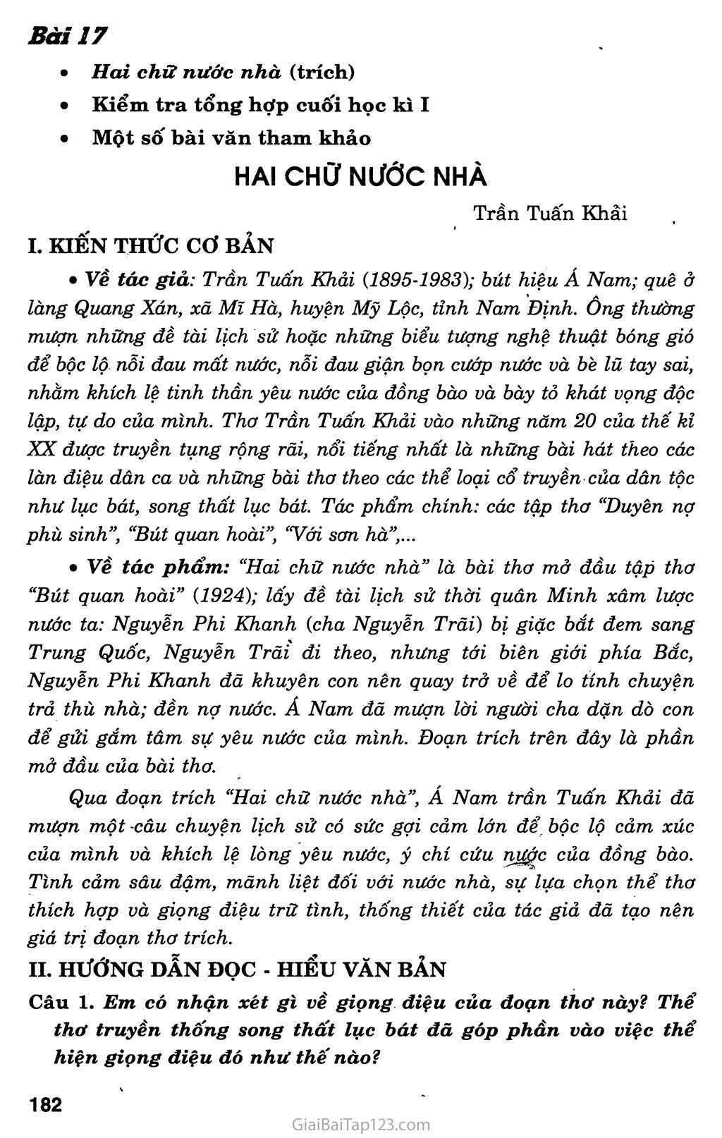Hai chữ nước nhà (trích) trang 1