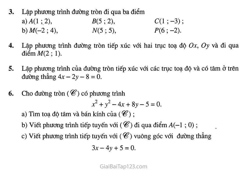 Bài 2. Phương trình đường tròn - Câu hỏi và bài tập trang 4