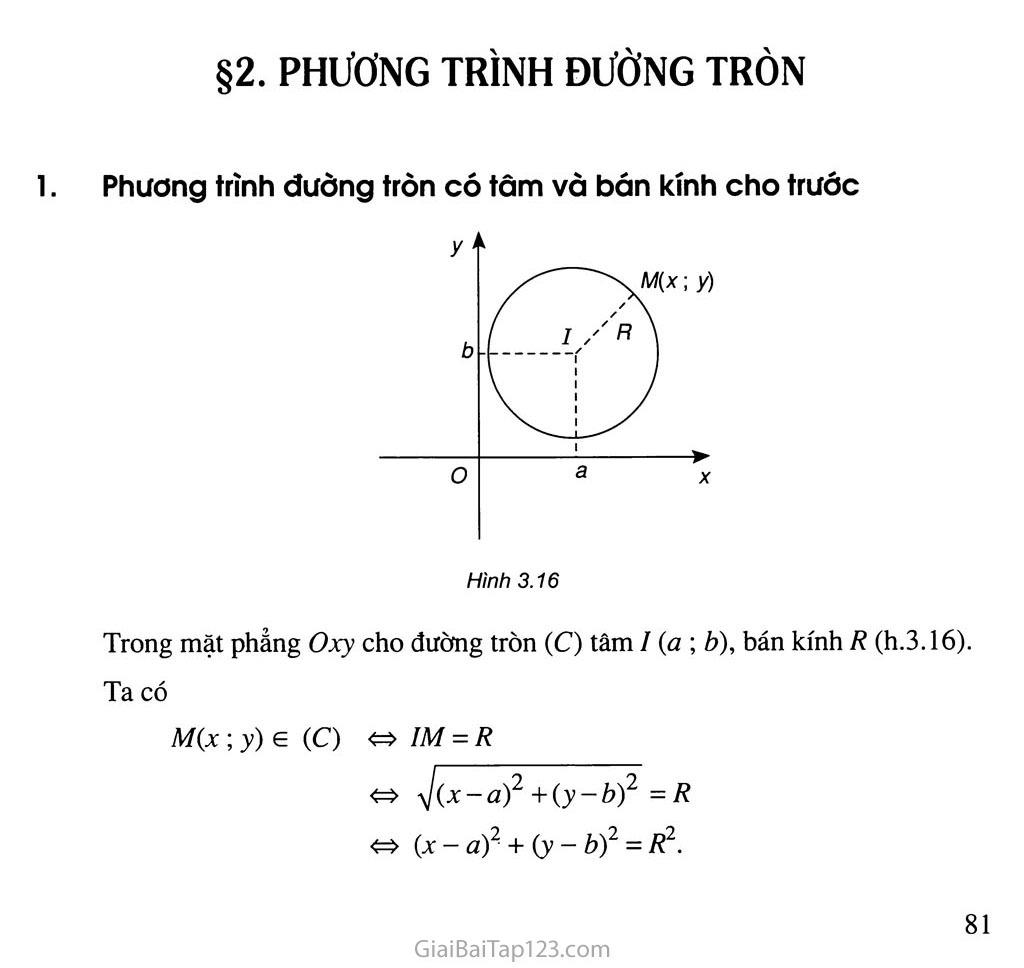 Bài 2. Phương trình đường tròn - Câu hỏi và bài tập trang 1