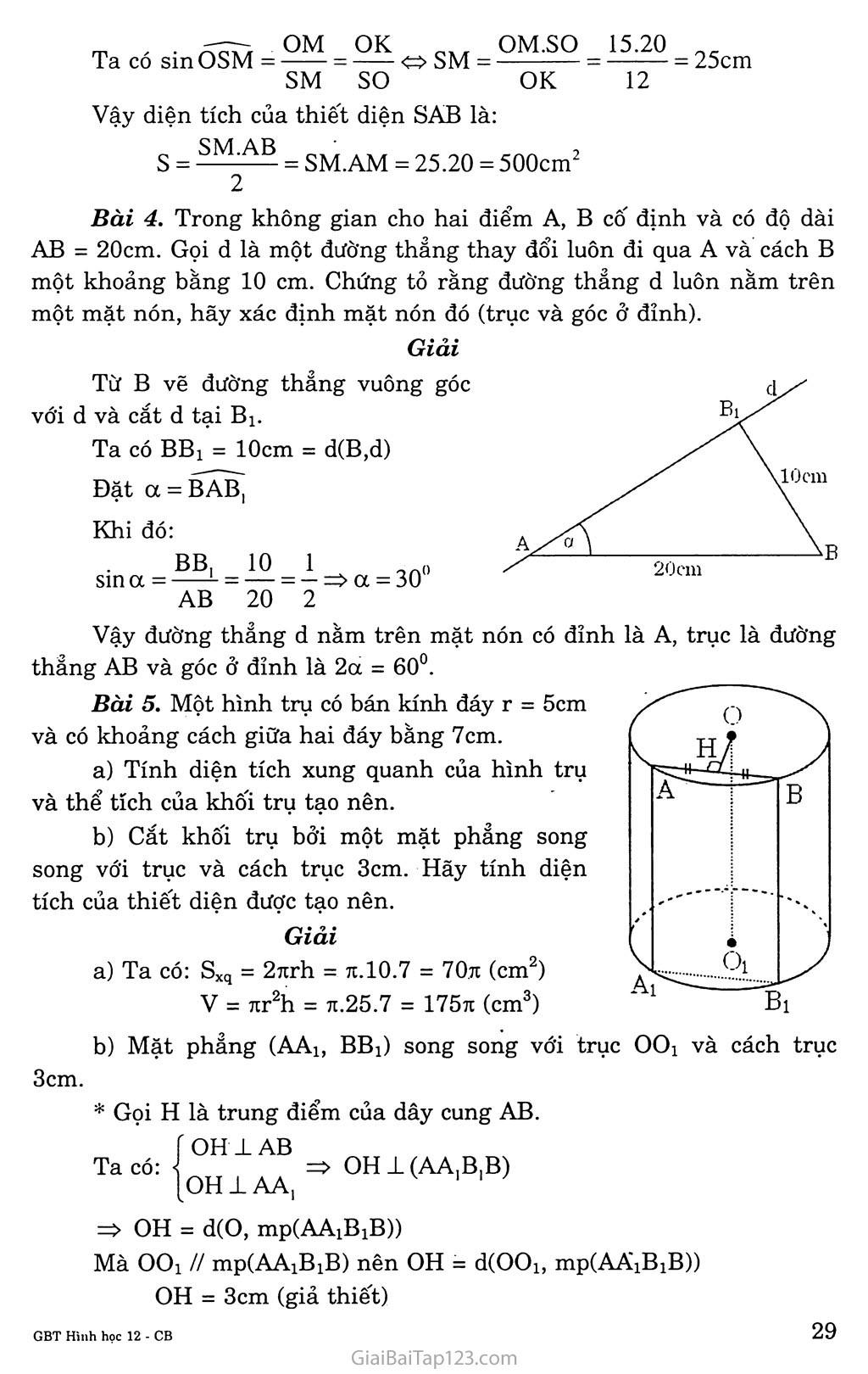 Bài 1. Khái niệm về mặt tròn xoay trang 4