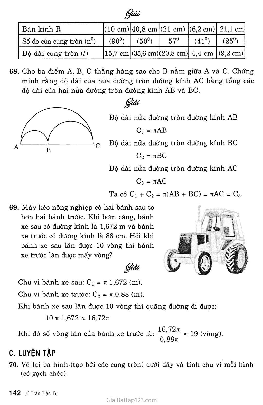 Bài 9. Độ dài đường tròn, cung tròn trang 3