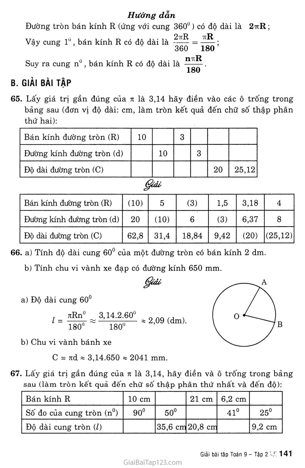 Bài 9. Độ dài đường tròn, cung tròn trang 2