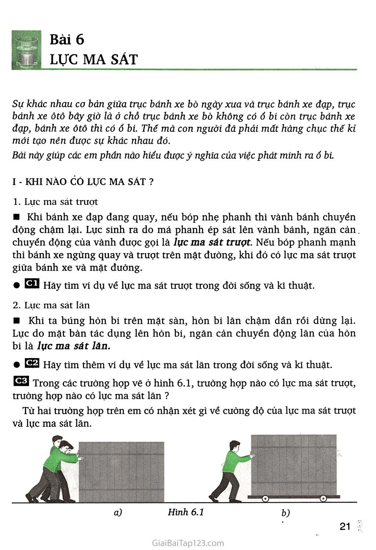 Bài 6. Lực ma sát trang 1