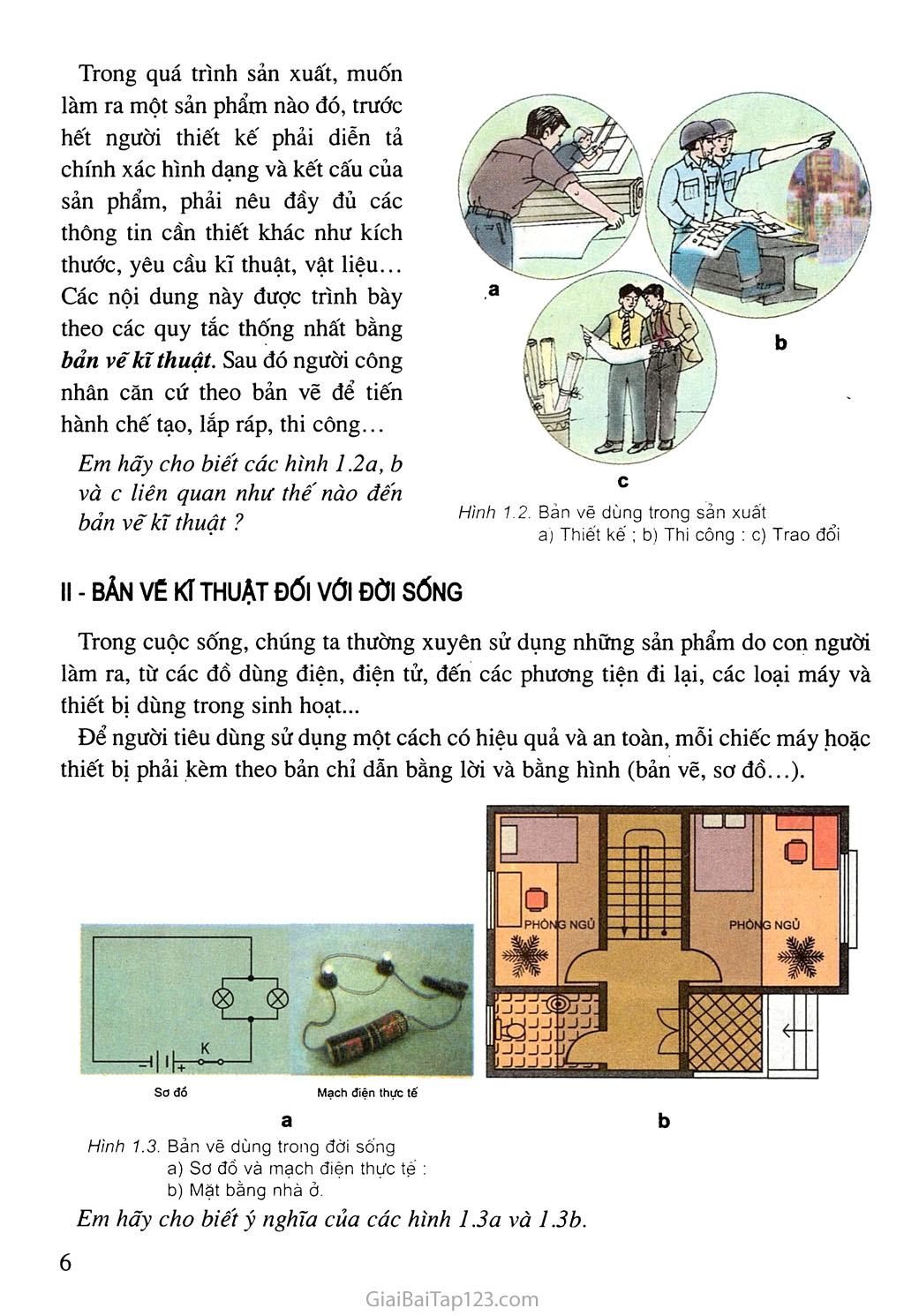 Bài 1. Vai trò của bản vẽ kĩ thuật trong sản xuất và đời sống trang 3