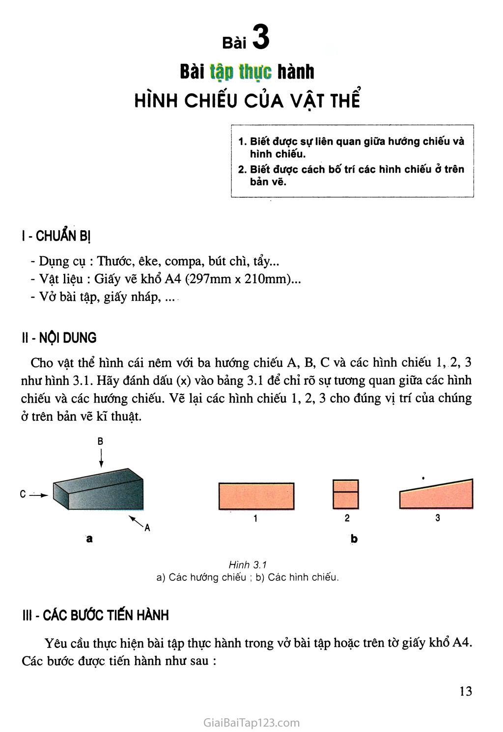 Bài 3. Bài tập thực hành - Hình chiếu của vật thể trang 1