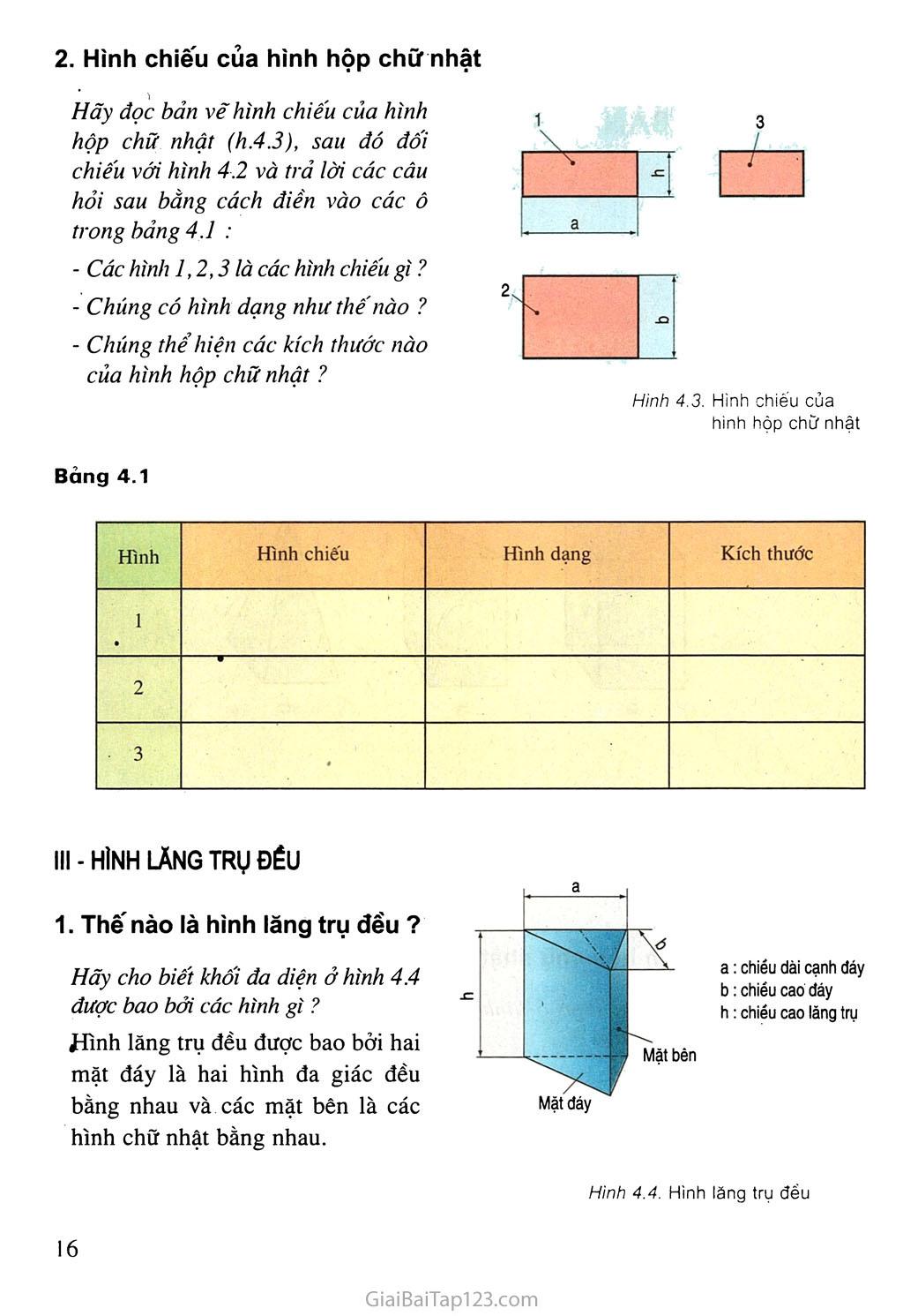 Bài 4. Bản vẽ các khối đa diện trang 2