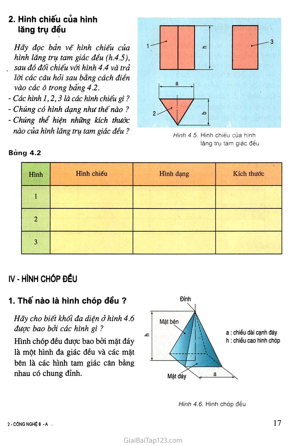 Bài 4. Bản vẽ các khối đa diện trang 3
