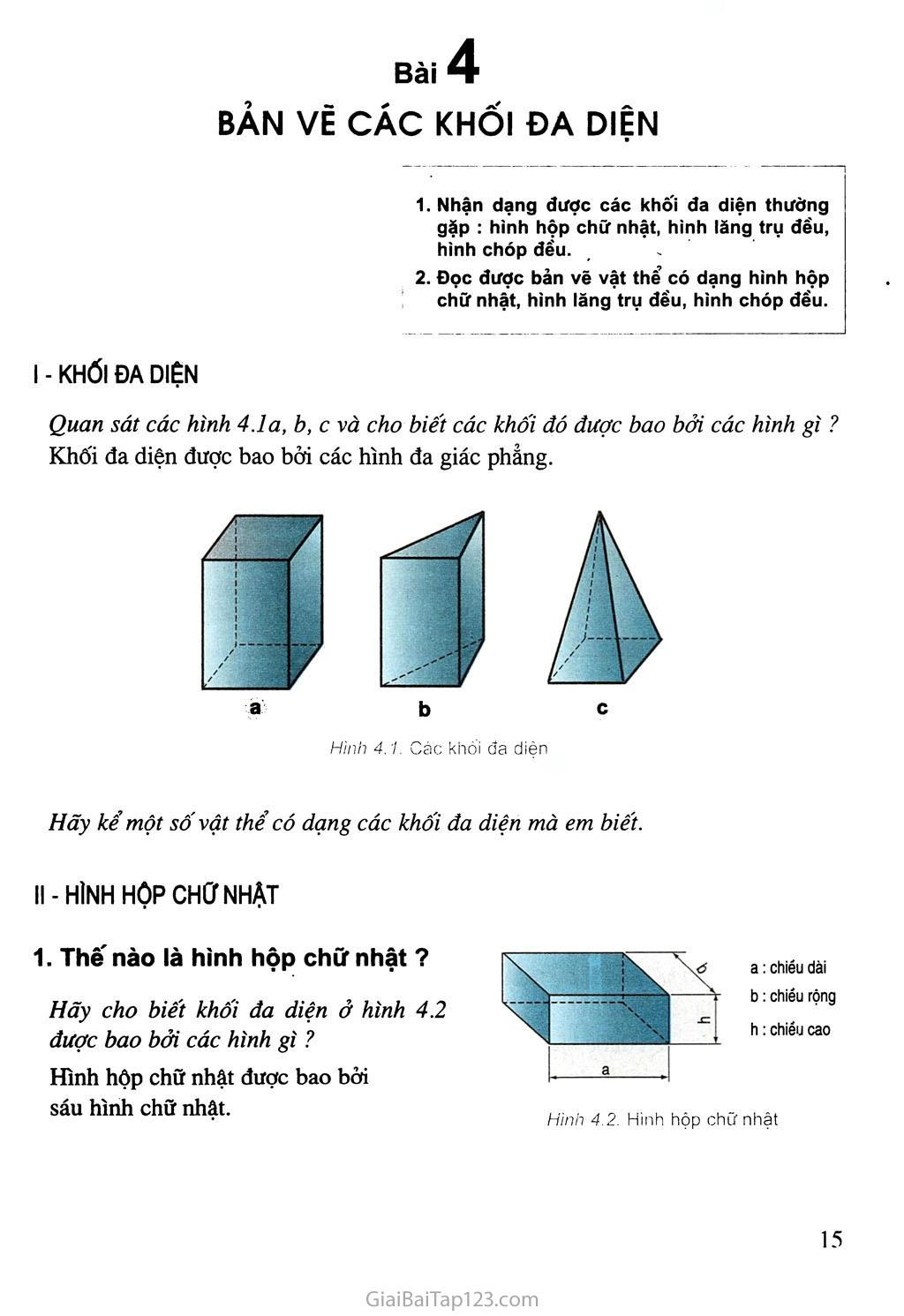 Bài 4. Bản vẽ các khối đa diện trang 1