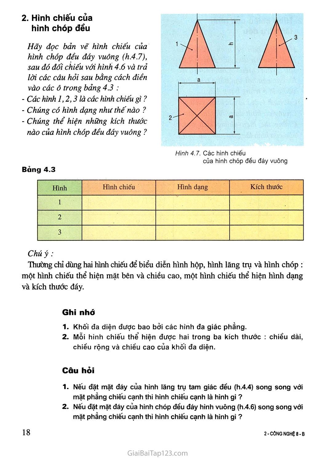 Bài 4. Bản vẽ các khối đa diện trang 4
