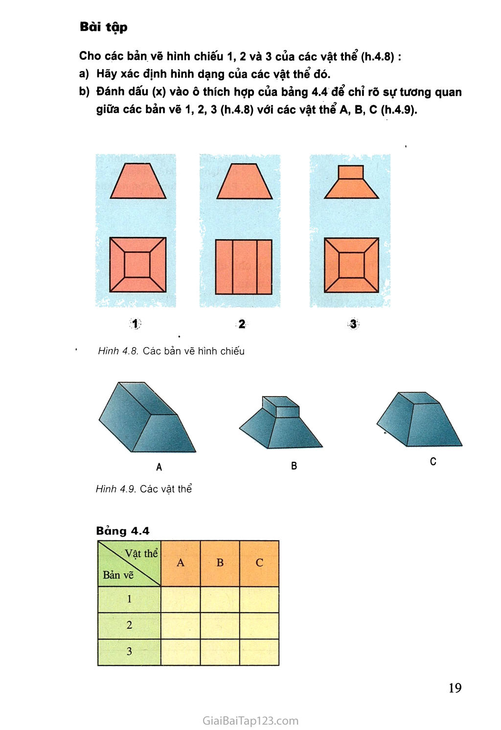 Bài 4. Bản vẽ các khối đa diện trang 5
