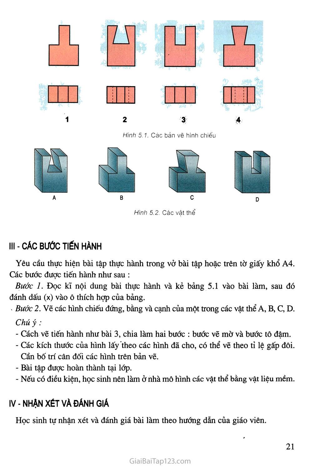 Bài 5. Bài tập thực hành - Đọc bản vẽ các khối đa diện trang 2