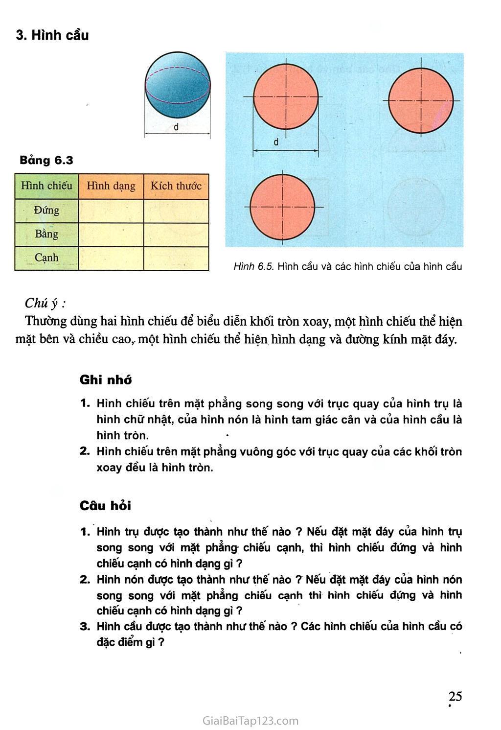 Bài 6. Bản vẽ các khối tròn xoay trang 3