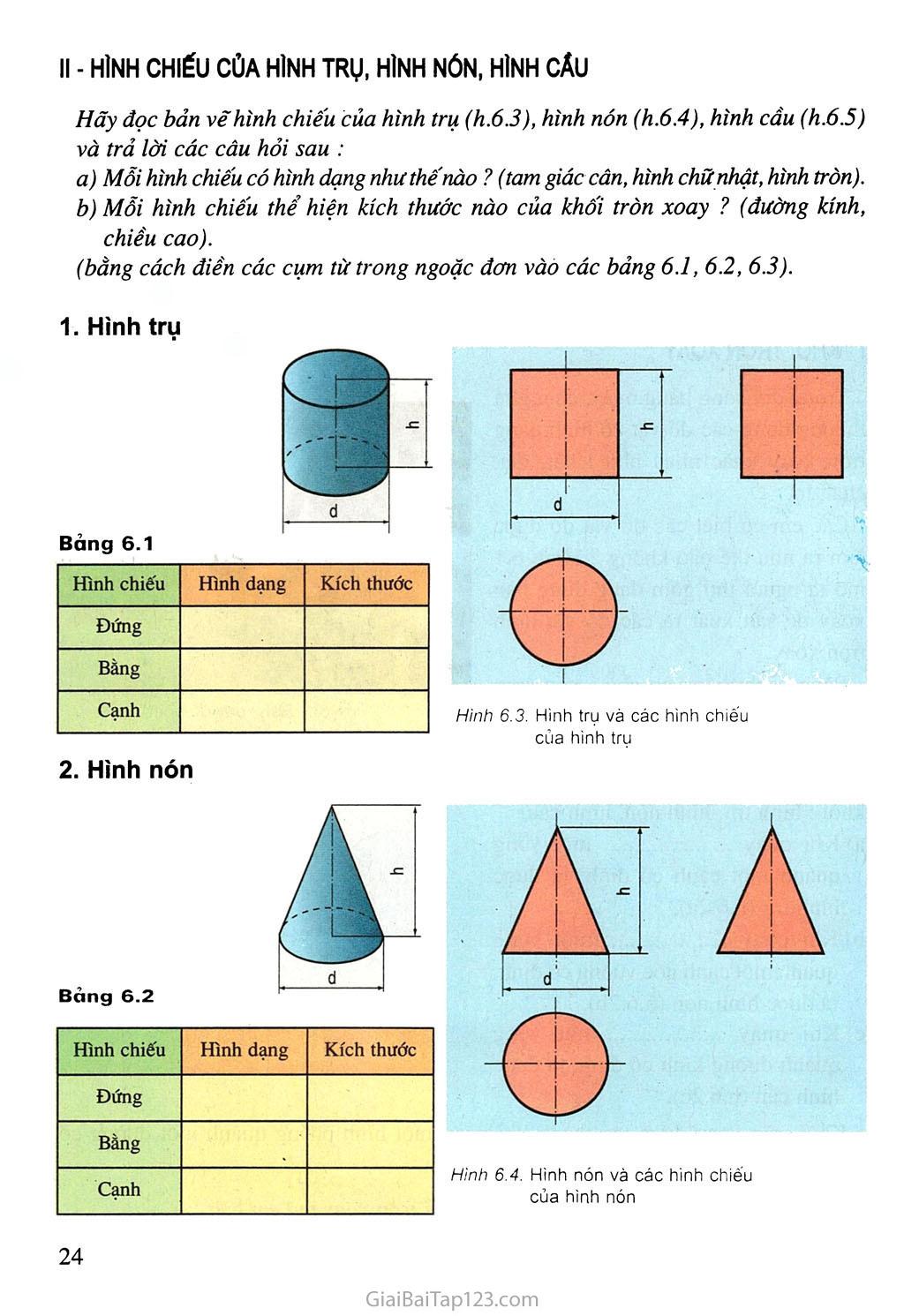 Bài 6. Bản vẽ các khối tròn xoay trang 2