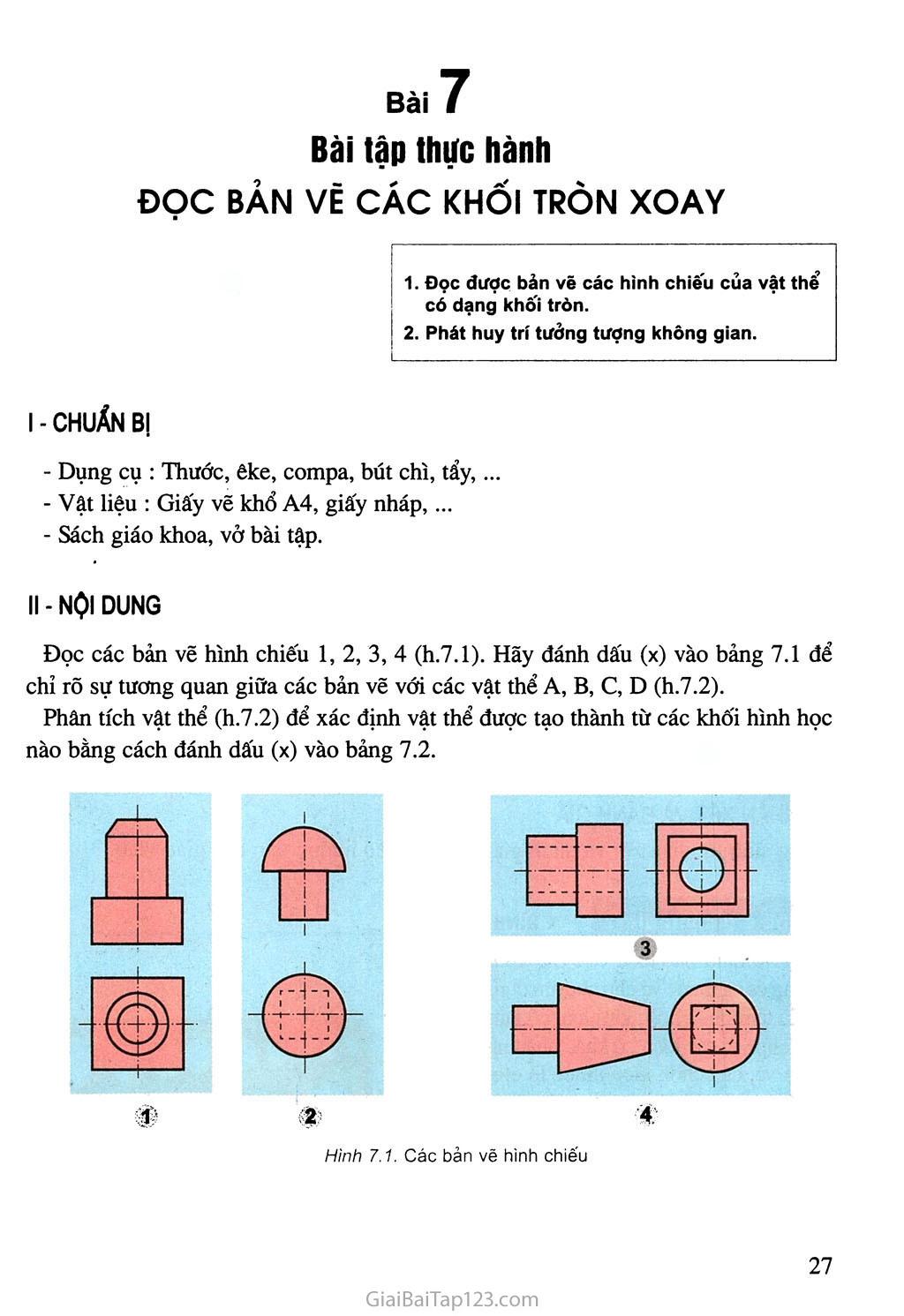 Bài 7. Bài tập thực hành - Đọc bản vẽ các khối tròn xoay trang 1