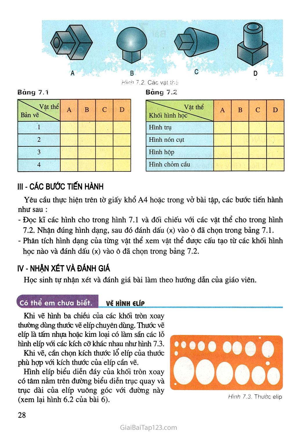 Bài 7. Bài tập thực hành - Đọc bản vẽ các khối tròn xoay trang 2
